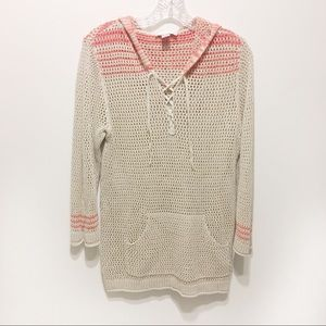 Christopher & Banks knit tunic hood oatmeal stripe